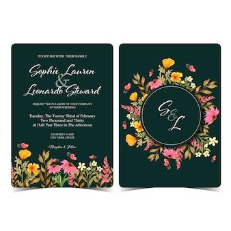 モノグラムと結婚式招待状のセット