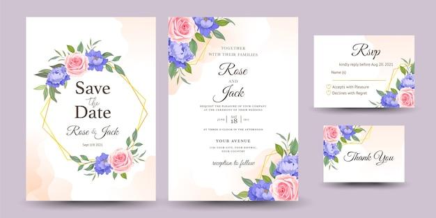バラと結婚式の招待状のセット