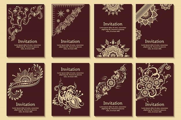 Набор свадебных приглашений и объявлений карты с орнаментом в арабском стиле. арабески