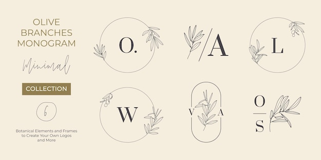 현대적인 최소 라이너 스타일의 올리브 가지가 있는 웨딩 모노그램 및 로고 세트. 초대 카드용 벡터 꽃 템플릿, 날짜를 저장합니다. 식물의 소박한 그림, 뷰티 스튜디오, spa