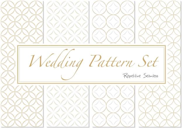 금색과 흰색 색상의 웨딩 패턴 세트