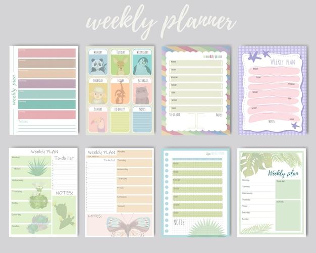 주간 및 일일 플래너 세트. 일일 계획, 메모에 대한 귀여운 주간 배경