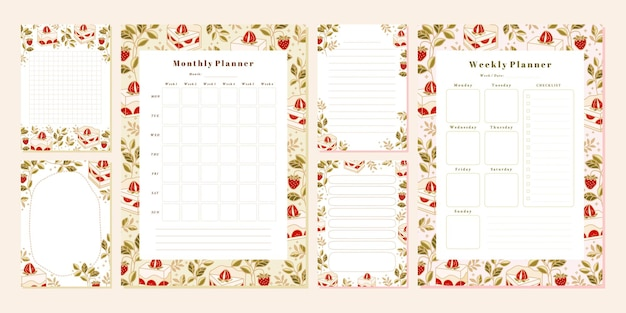 손으로 그린 케이크 꽃과 딸기 요소가 있는 주간 월간 플래너 노트 템플릿 세트
