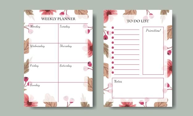 주간 플래너 및 할 일 목록 템플릿 세트, 손으로 그린 수채화 핑크 꽃 배경 인쇄 가능