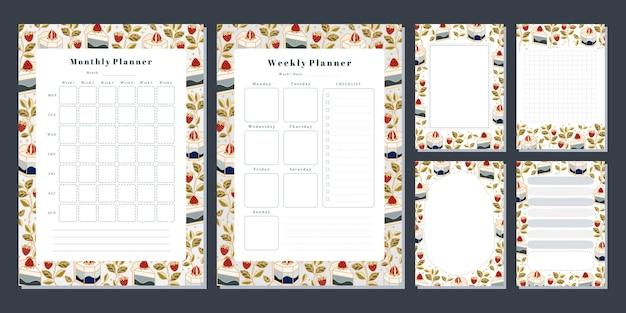 주간 플래너, 월간 플래너, 메모, 메모, 손으로 그린 케이크, 꽃, 딸기 요소가 있는 학교 스케줄러 템플릿 세트