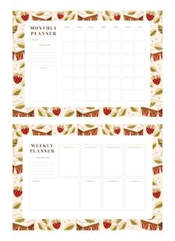 주간 플래너, 월간 플래너, 손으로 그린 케이크, 꽃 및 딸기 요소가있는 학교 스케줄러 템플릿 세트