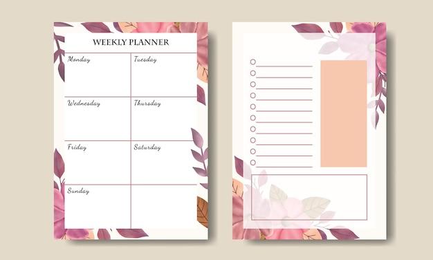 手描きのピンクの花の花束の背景を持つリストを行うためのウィークリープランナーのセット