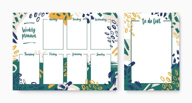 平日を含むウィークリープランナーと、ブラシストローク、ペイントマーク、落書きで装飾されたフレームを備えたtodoリストテンプレートのセット。タスクの編成または計画のための印刷可能なページ。ベクトルイラスト。