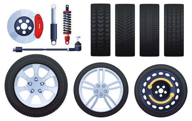 ホイール、ブレーキ、ショックアブソーバー、タイヤのセット。さまざまなプロテクター。白い背景で隔離。