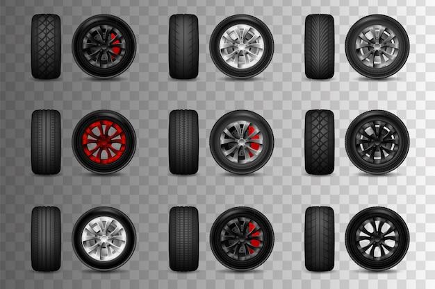Комплект колес для авто с тормозными дисками. шиномонтаж, замена шин, автосервис. изолированные. прозрачные объекты и маски непрозрачности, используемые для рисования теней и огней