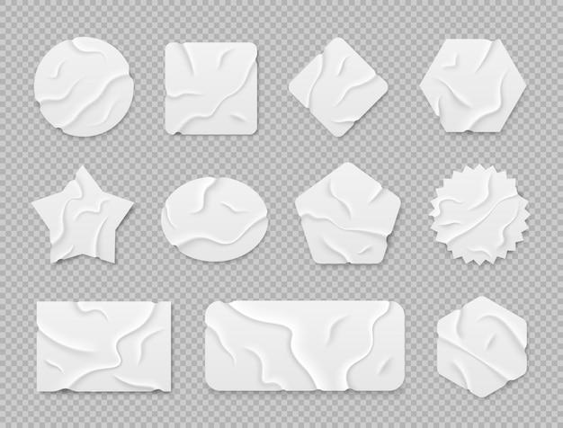 투명 한 배경에 고립 된 흰색 접착 스티커 스티커 접착 테이프 조각 세트