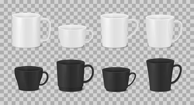 白と黒のカップコーヒーマグのセット