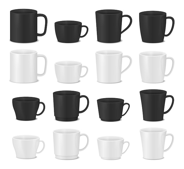 白と黒のカップのセット。リアルなコーヒーマグ。