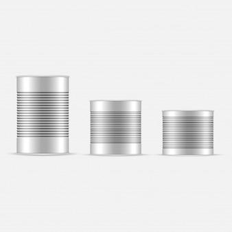 白と金属のスズ缶のセット