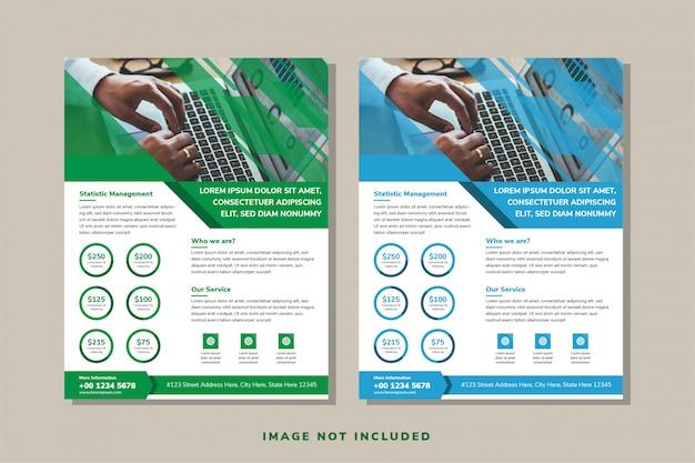 ビジネスパンフレット、リーフレット、チラシ、表紙のテンプレートの白い背景のセットです。抽象的な青と緑の対角線要素デザイン。写真用の長方形のスペース。