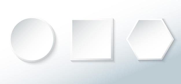 白いバッジの幾何学的形状の空白のボタンの3dスタイルのセット。アプリ、ウェブサイト、バナーウェブなどにご利用いただけます。ベクターイラスト