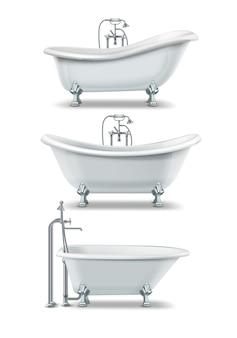 金色の要素を持つ爪足スタイルの白いバスタブのセット。古典的なリム浴槽、スリッパ、両端の浴槽、白い背景で隔離