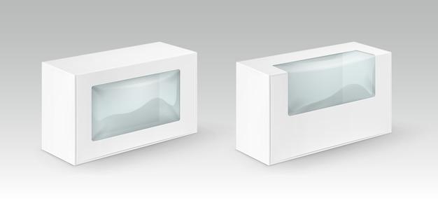 흰색 빈 골판지 사각형 세트 샌드위치, 음식, 선물, 플라스틱 창을 가진 다른 제품을 위해 포장하는 상자를 빼앗아 흰색 배경에 격리 닫습니다