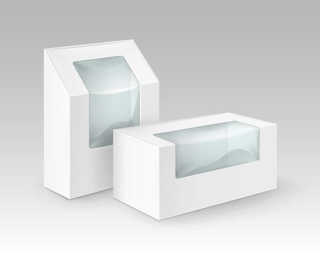 Набор белых пустых картонных прямоугольных коробок для упаковки бутербродов, продуктов питания, подарков, других продуктов с пластиковым окном макет крупным планом изолированные