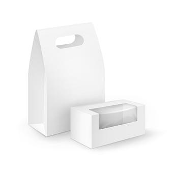 흰색 빈 골판지 직사각형 세트 샌드위치, 음식, 선물, 플라스틱 창문이있는 기타 제품 용 도시락 포장을 처리하십시오.