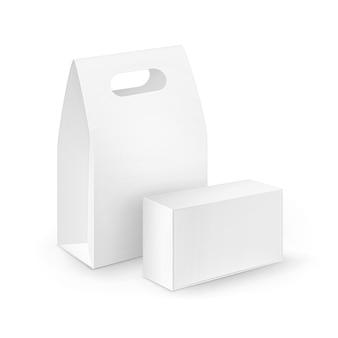 白い空白の段ボールの長方形のセットは、サンドイッチの包装ハンドルランチボックスを奪う