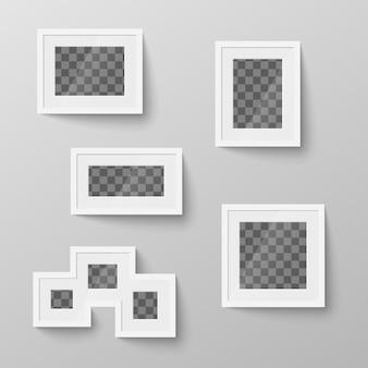 Набор белых пустых рамок с прозрачным местом для фото