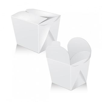 흰색 빈 냄비 상자 세트입니다. 포장. 아시아 또는 중국을위한 판지 상자는 음식 종이 봉지를 빼냅니다