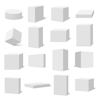 Набор белых коробок. иллюстрации.