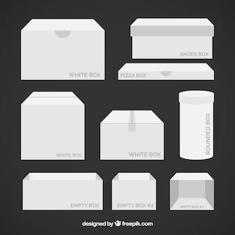 フラットスタイルで出荷する白い箱のセット
