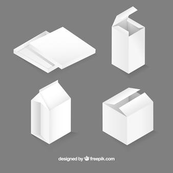 Набор белых коробок для доставки в реалистичном стиле