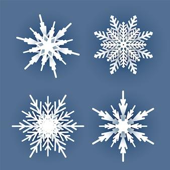 暗い青色の背景に影と白いクリスマスペーパー雪片のセットです。新年あけましておめでとうございます、メリークリスマスのグリーティングカードの装飾のための雪の要素。フラットスタイルのイラスト。