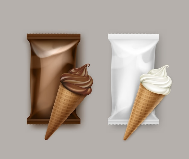 브랜딩 패키지 디자인을위한 갈색 흰색 플라스틱 호일 래퍼가있는 흰색 클래식 및 초콜릿 소프트 서브 아이스크림 와플 콘 세트.