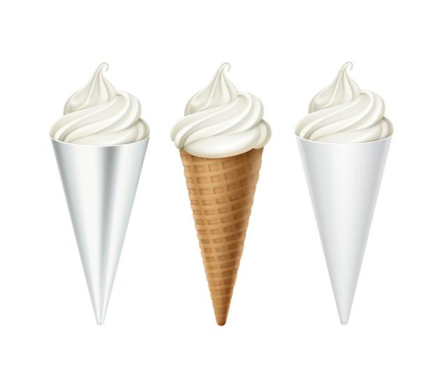 白い古典的なソフトサーブアイスクリームワッフルコーンのセットの白いカートンホイルラッパークローズアップホワイトバックグラウンド上に分離されて