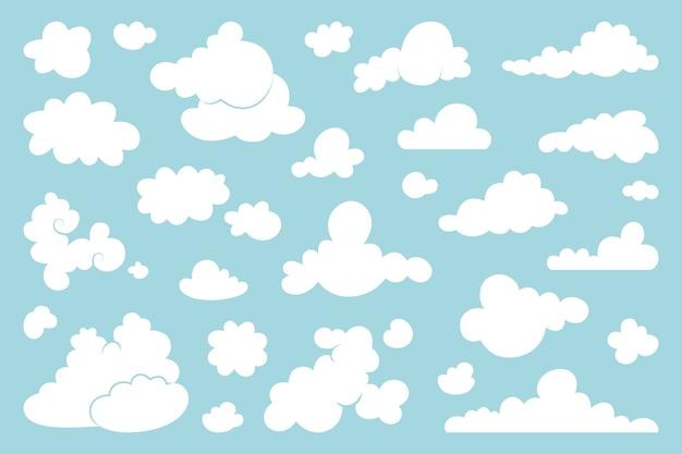 青い背景の上の白い雲のセット。