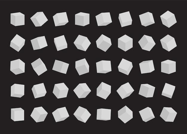 Набор белых кубиков. иллюстрация.