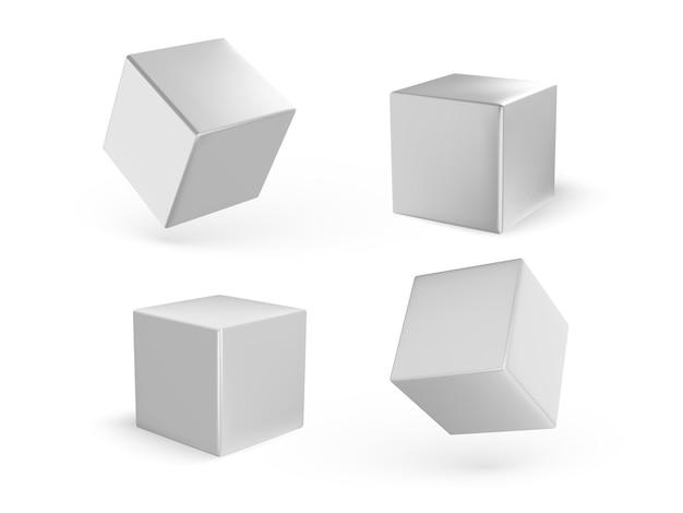 흰색 절연 그림자와 함께 흰색 큐브 세트