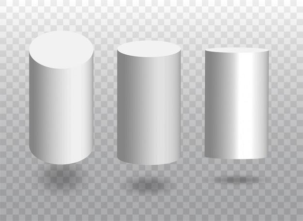 흰색 실린더 세트입니다. 그림자가있는 기하학적 블록.