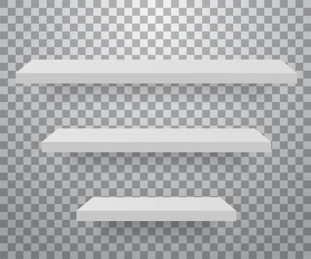 Набор белых разных мебельных полок.