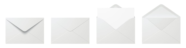 Набор белых конвертов в разных положениях, изолированных на фоне
