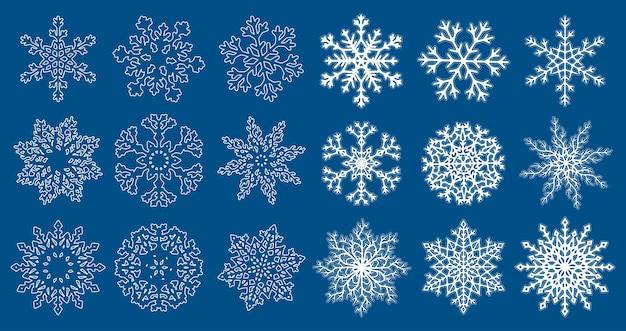 青い背景で隔離の白い平らな線形雪片のセットです。ベクトルイラスト。