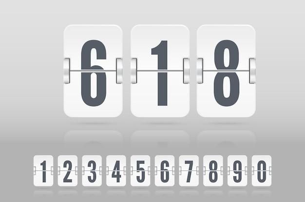 明るい背景に分離されたカウントダウンタイマーまたはカレンダーの反射で浮かぶ白いフリップスコアボード番号のセット。あなたのデザインのベクトルテンプレート。