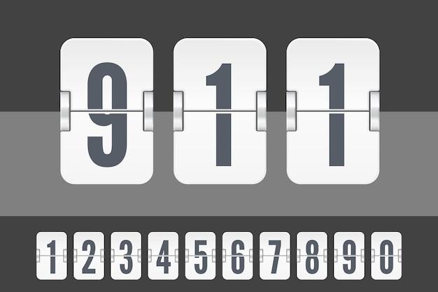 暗い背景と明るい背景に分離されたカウントダウンタイマーまたはカレンダーの白いフリップスコアボード番号のセット。あなたのデザインのベクトルテンプレート。