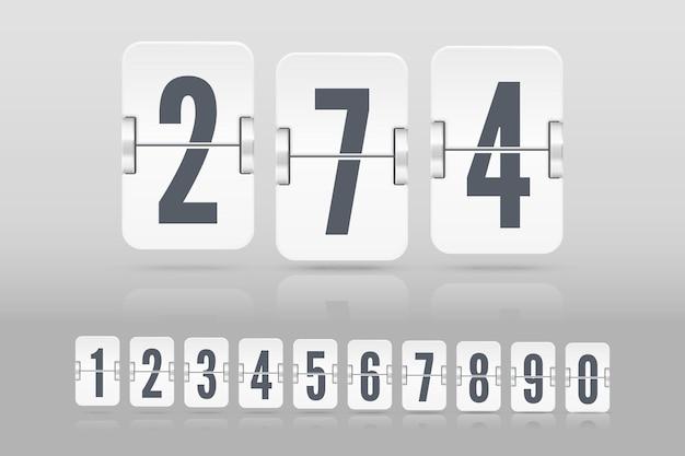 明るい背景で隔離のカウントダウンタイマーまたはカレンダーの異なる高さに浮かぶ反射と白いフリップスコアボード番号のセット。あなたのデザインのベクトルテンプレート。