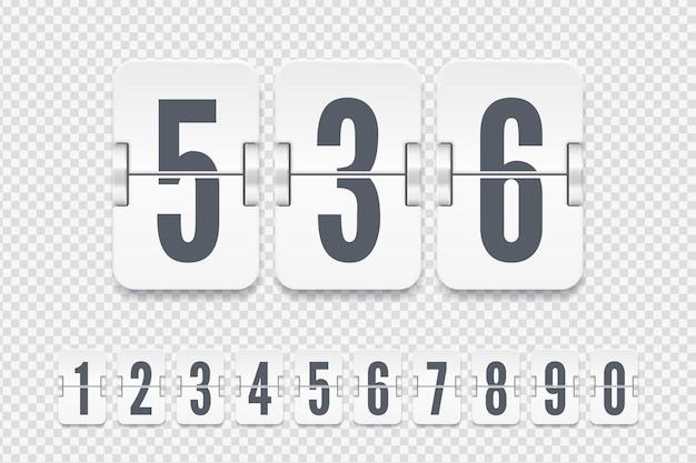 透明な背景に分離されたカウントダウンタイマーまたはカレンダーの影付きの白いフリップスコアボード番号のセット。あなたのデザインのベクトルテンプレート。