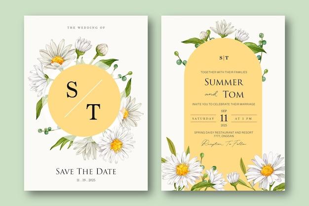 Набор шаблонов свадебного приглашения с белым цветком