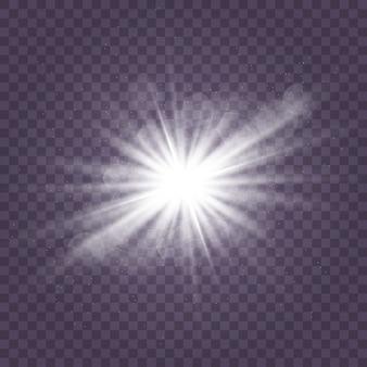 透明な背景に白い輝く光のセットが爆発する輝く魔法のほこりの粒子。キラキラとスターバースト。ゴールドラメブライトスター。透明な太陽、明るいフラッシュ