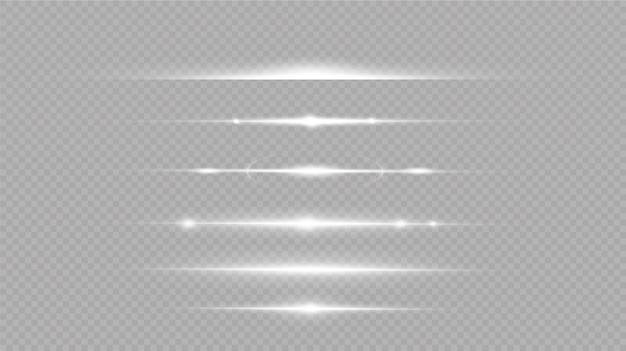 Набор белых горизонтальных бликов. лазерные лучи, горизонтальные световые лучи. свечение прозрачный векторный набор световых эффектов, взрыва, блеска, искры, солнечной вспышки.