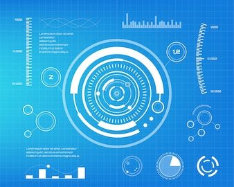 Set of white infographic elements. Head-up display elements for the web and app. Futuristic user interface. Virtual graphic.