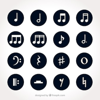 Set of white musical notes with round backgrounds