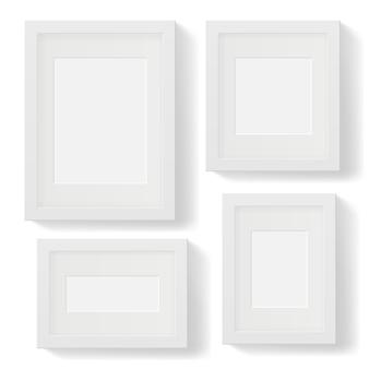 그림자와 함께 흰색 사진 프레임 세트